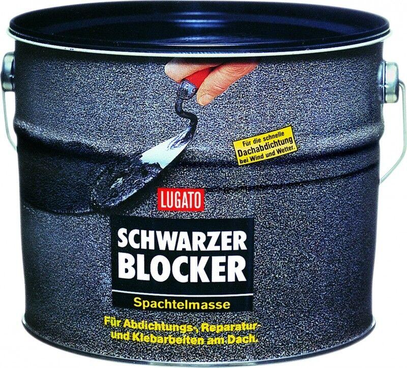 Lugato Schwarzer Blocker Spachtelmasse 5 kg - Bitumen - schnelle Dachabdichtung