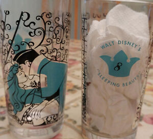 Two 1959 Sleeping Beauty Disney Glasses