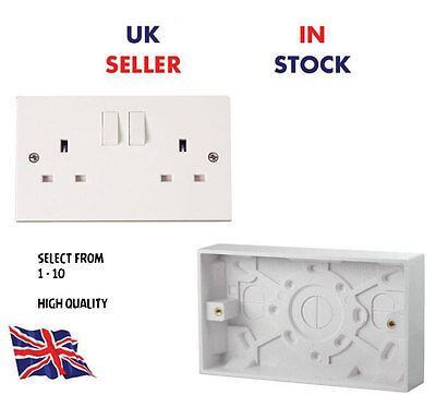 TWIN DOUBLE SWITCHED SOCKET WHITE 13AMP PLUG 2 GANG PATTRESS BOX 25MM - Switched Socket