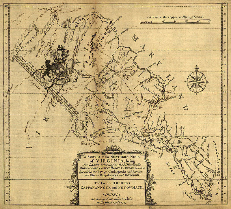 Survey of northern neck of Virginia c1747 map 18x16