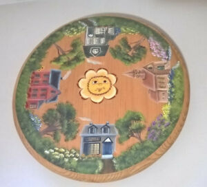 Wood Lazy Susan Hand Painted Primitive Folk Art Country Village