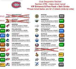 Montreal Canadiens Tickets / Billets -Club Desjardins Many Games