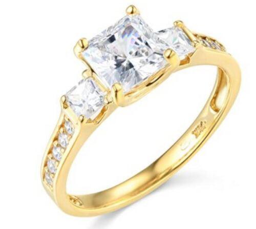 14k Yellow Gold Engagement Ring Square Princess Cut 3 Stone Diamond Engagement