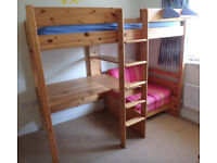 Stompa High Sleeper Bed with Desk and Pull Out Futon *** NOW SOLD ***
