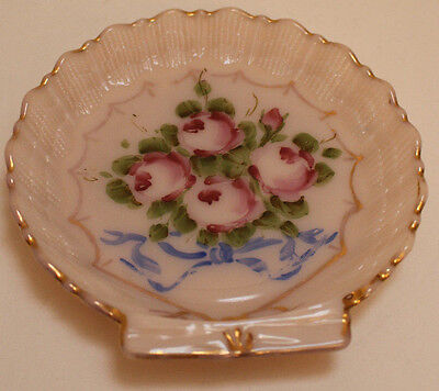 Vintage Cambridge PINK Glass Hand Painted Crown Tuscan SHELL Dish EUC!