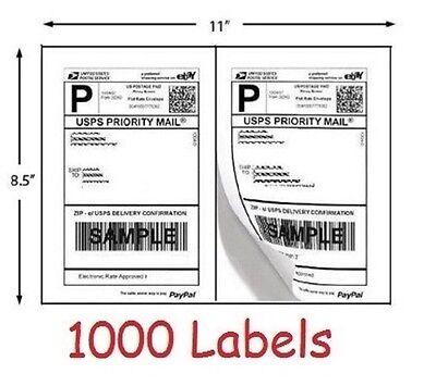 1000 Shipping Labels Usps Ebay Paypal Half Sheet Self Adhesive Paper 8.5 X 5.5