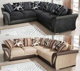 BRAND NEW SHANNON CHENILLE FABRIC DUAL ARM CORNER SOFA OR 3+2 SEATER SUITE IN BLACK GREY BROWN MINK