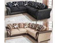 BRAND NEW SHANNON CHENILLE FABRIC CORNER SOFA SUITE / 3+2 SEATER BLACK GREY BROWN BEIGE MATERIAL