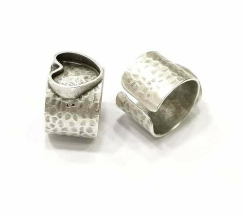 Heart Adjustable Ring Blank, (12 mm blank ) Antique Silver Plated Brass G21648