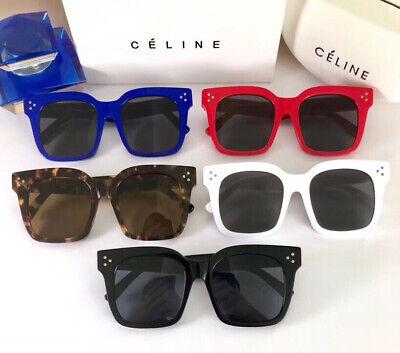 Celine Sunglasses CL41076 Tilda Oversized Full Rim Dark Deep Grey Silver (Celine Deep Square Sunglasses)