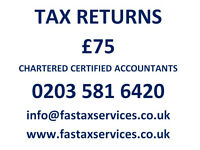 Tax Returns for £75, Companies Accounts for £100 - Quality services at low cost.