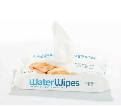 Lot Of 2 WaterWipes Baby Wipes 120 Total Wipes- No Chemicals