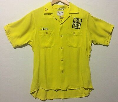 Vintage Men's Bowling Shirt King Louie 50's Medium Loop Collar Electronics