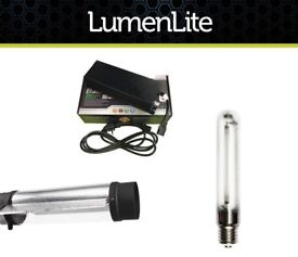 """Hydroponic HPS Cool Tube Full light Kit Air Cooled Reflector 6"""" Black Dimmable"""