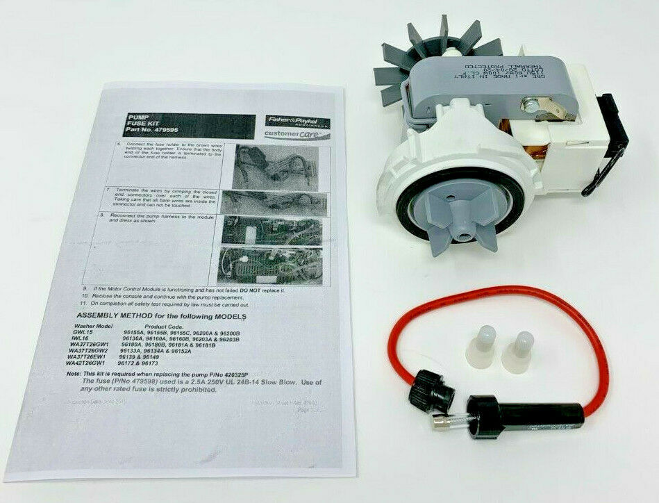 Genuine Fisher/Paykel 479595 Kit Pump and Fuse AP6791227 4547072 420325P