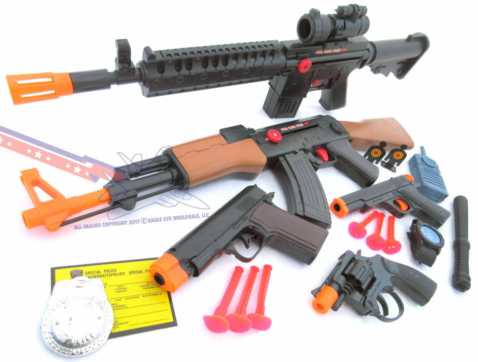 3x Toy Guns Special Forces Rifle Pump-Action Toy Shotgun /& Colt .45 Dart Gun Set