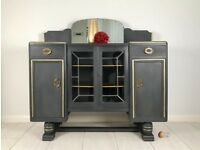 Unique Sideboard in graphite with gold detailing