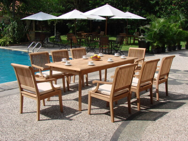 "9 PC TEAK OUTDOOR SET GARDEN PATIO 117"" RECT TBL + 8 SACK DINING DECK ARM CHAIRS"
