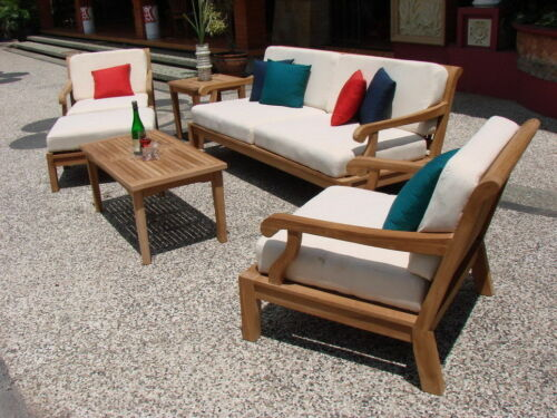 6 PC LARGE TEAKWOOD TEAK WOOD GARDEN INDOOR OUTDOOR PATIO SOFA SET POOL - SACK