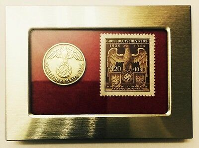 WW2 Rare Nazi 10 Rp Brass Coin & Stamp wth SWASTIKA in a Secure Metal Disp Frame