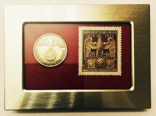German WW2 Rare 10 Rp Brass Coin & Stamp in a Secure Metal Disp Frame
