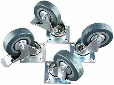 4 Pack 3 Inch Swivel Caster Wheels Rubber Heavy Duty Castors With 360 Top Plate