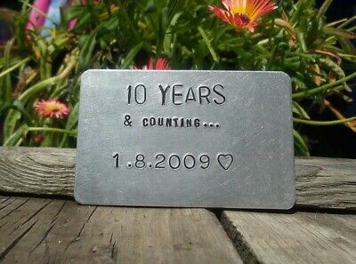 10 YEARS Aluminum 10th Wedding Anniversary Gifts Husband WALLET Insert Tin Card ()