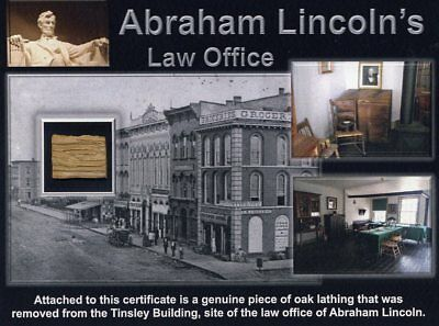 Authentic Piece Of Abraham Lincolns Law Office Site On Gorgeous Certificate Coa