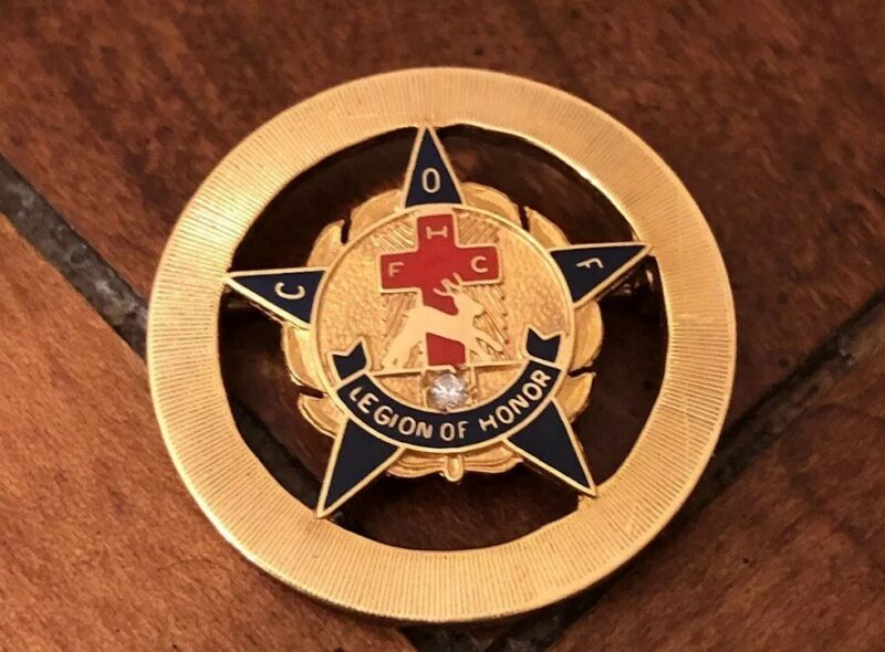 Rare Vintage Catholic Fraternal order of Foresters Gold Pin Legion Of Honor
