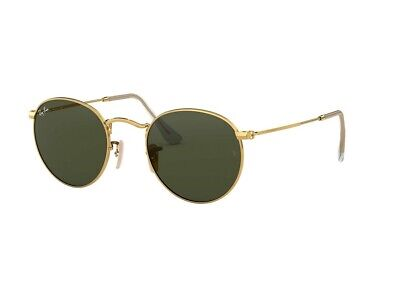Ray Ban RB3447 001 ROUND METAL 50-21, Green Classic G-15 Lens, Gold -