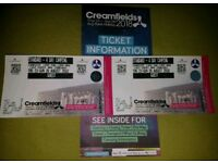 x2 CREAMFIELDS STANDARD 4 DAY CAMPING TICKETS