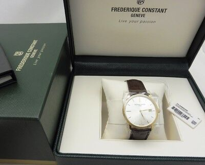 New Authentic FREDERIQUE CONSTANT Men's Swiss Made Slim Date Leather Strap Watch