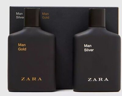 Zara Mens Gold And Silver 2 X 100 ml EDT aftershave Spray Fragrances New Sealed