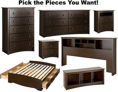 Espresso Bedroom Furniture Sets Dresser Drawer Nightstand Chest Dressers Durable