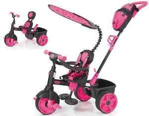 Girls Pink Smart Trike 4in1 Ride On Tricycle 3 Wheel Push Handle Baby Kids Bike