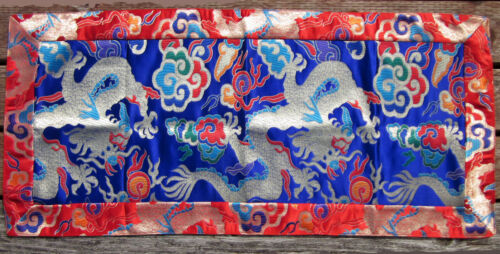 "DRAGON BLUE &VIBRANT COLORS 19"" X 42"" SILK BROCADE ALTAR CLOTH TIBETAN BUDDHIST"