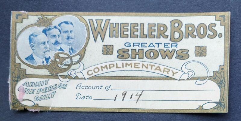 RARE WHEELER BROS Greater Shows 1914 Ticket