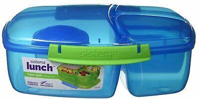 Sistema Lunchbox Triple Split Lunchbox mit Joghurttopf 2L BLAU Brotdose 3Fächer