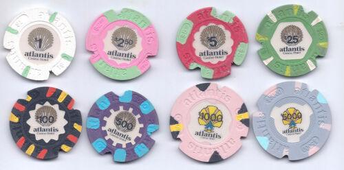 Complete Rare Set 8 Notched Atlantis Chips Atlantic City NJ