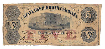 1855 The State Bank  South Carolina   Five Dollar Obsolete Note No 8 Low Number