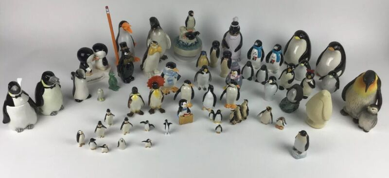 Vintage & New Collection of 54 Penguins Variety of Breeds and Materials