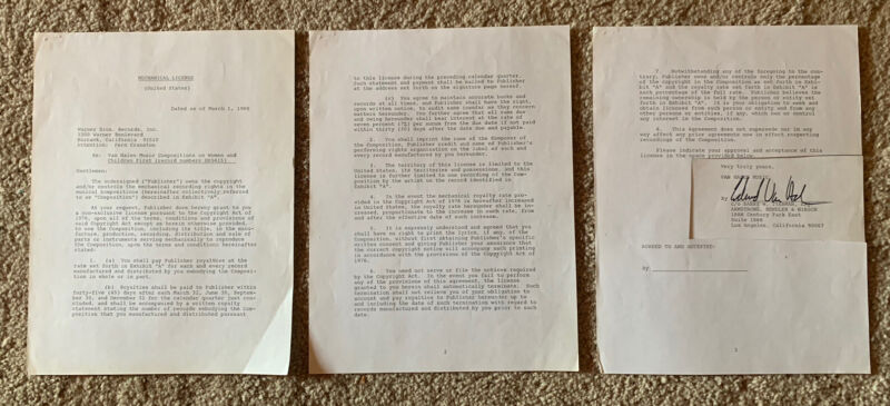 Eddie Van Halen ORIGINAL 1980 Publishing Contract Signed Autograph BAS Certified