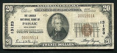 1929  20 The Lincoln National Bank Of Passaic  Nj National Currency Ch   13123