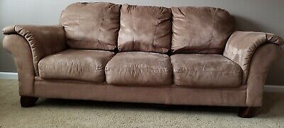 Used Three-Piece Living Room Furniture Set - Sofa, Loveseat, and Chaise - Brown