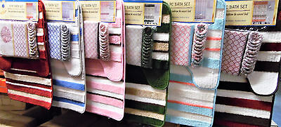 15PC SHOWER CURTAIN FABRIC HOOKS  BATH MATS RUGS COMPLETE BATHROOM SET NEW DESIG