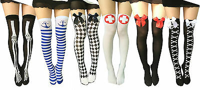 Halterlose Strümpfe Leggings Cosplay Fasching Karneval Halloween Kostüm - Halloween Leggings