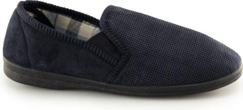 Mirak RICHARD Mens Textured Slip On Elasticated Comfort Full Slippers Black