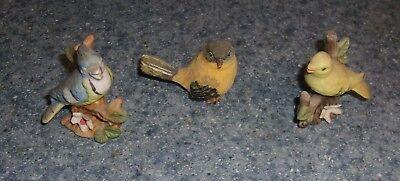 Three Bird Figurines Blue Jay Yellow Birds For Cocker Spaniel Rescue Charity