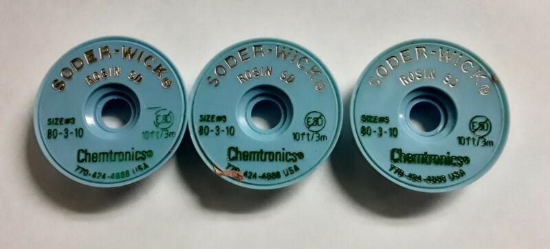 3 Spools of Chemtronics 80-3-10 Soder-Wick Rosin SD Desoldering Braid