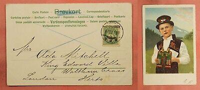 1903 NORWAY BOY COSTUME POSTCARD KRISTIANIA TO GB 84535 (Norway Costume)